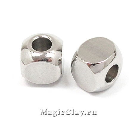 Бусина Кубик 6х6мм, сталь, 10шт