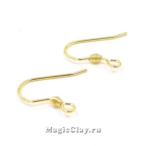 Швензы крючки Спираль 16х15мм, сталь золото, 1пара