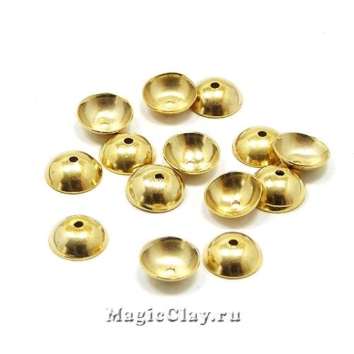 Шапочка для бусины Круглая 6x2мм, сталь, цвет золото, 10шт