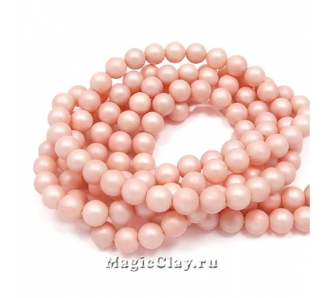 Жемчуг Майорка сатин, цвет Розовый 6мм, 20 шт