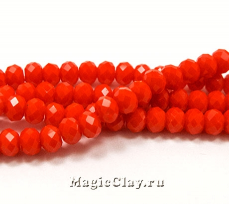 Бусины рондели Оранжевый Восторг 4х3мм, 1нить (~145шт)
