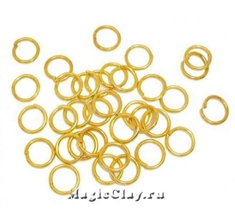 Колечки разъемные, цвет золото 6х1мм, латунь 1уп (~100шт)