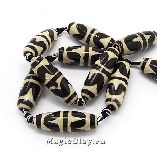 Бусины Дзи агат Зуб Тигра, черный 30х10мм, 1шт