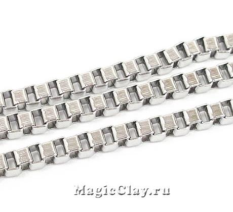 Цепочка Квадратные звенья 3х3мм, сталь, 1м