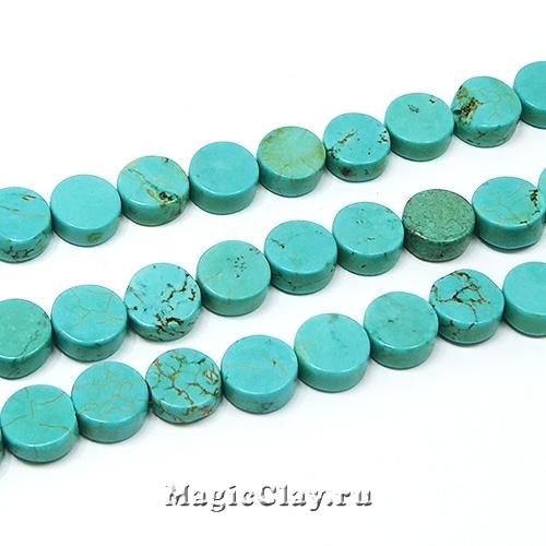 Бусины Бирюза Голубая, таблетка 8х3мм, 1нить (~20шт)