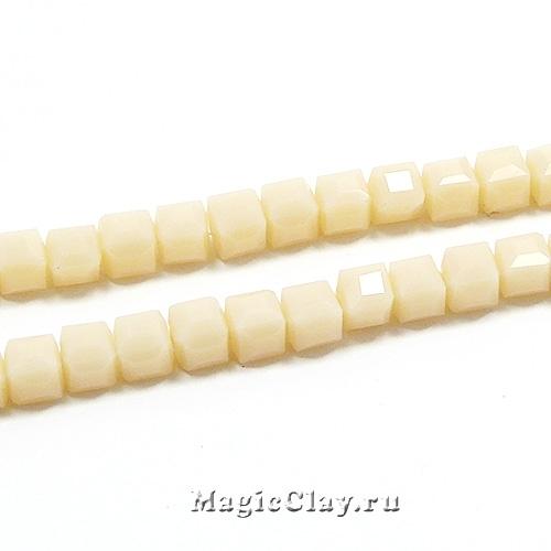Бусины Кубики Ванильный бисквит 4мм, 1нить (~95шт)