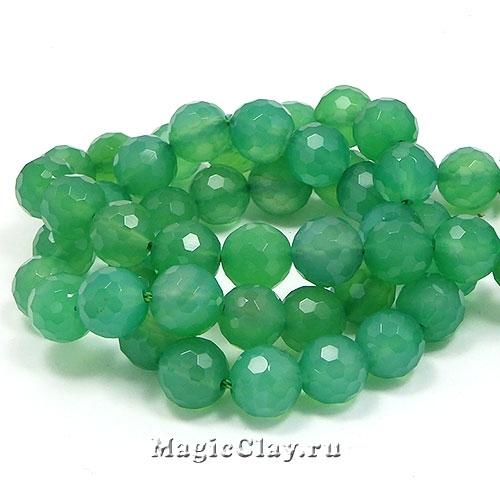 Бусины Агат зеленый, граненый 8 мм, 1 нить (~24шт)
