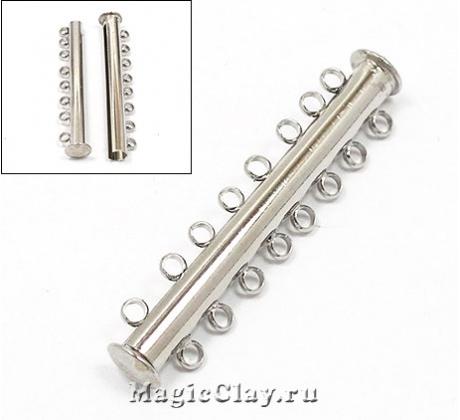 Замок Магнитный на 8 нитей 45х8мм, цвет серебро стальное, 1шт