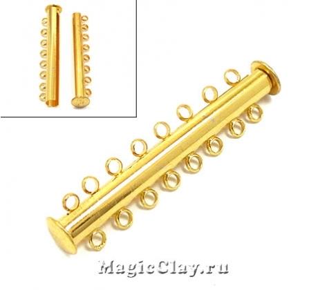 Замок Магнитный на 8 нитей 45х8мм, цвет золото, 1шт