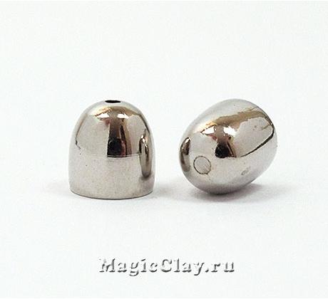 Концевик для шнура 9х8мм, цвет платина, 6шт