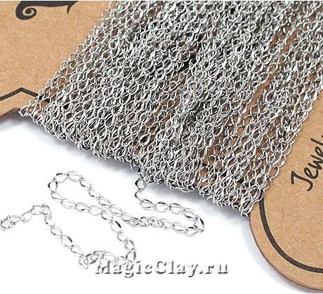 Цепочка Панцирная звенья 3x2мм, сталь, 1м