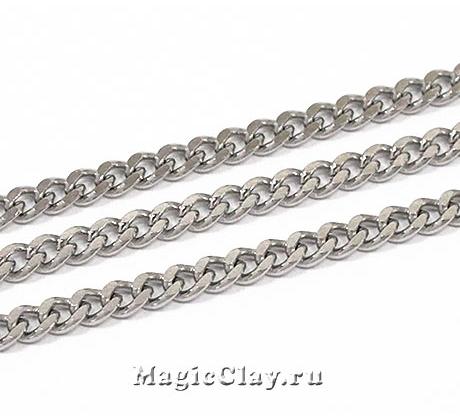 Цепочка Панцирная звенья 4x3мм, сталь, 1м