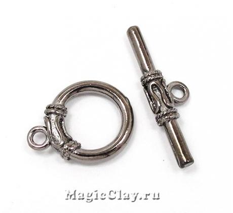 Замок Тоггл Кольцо Узор, цвет черная сталь, 1шт