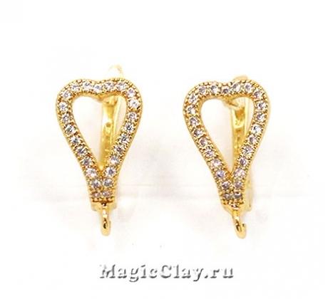 Швензы Сердце 15х12мм, Real Gold, 1пара