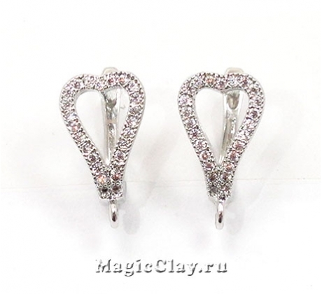 Швензы Сердце 15х12мм, Real Platinum, 1пара