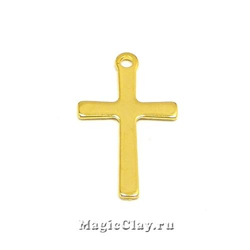Подвеска Крестик 20х12мм, сталь, цвет золото, 1шт