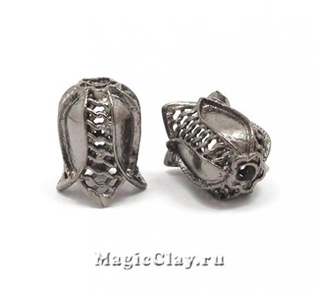 Шапочка для бусины Сеточка 12х9мм, цвет черная сталь, 1шт