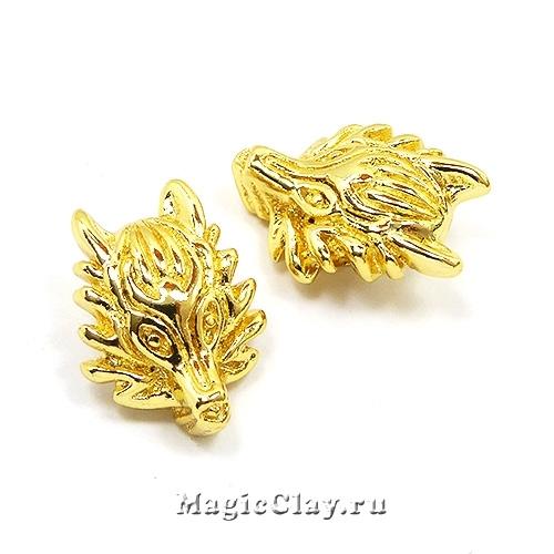 Бусина Голова Дракона 18х13мм, цвет золото, 1шт