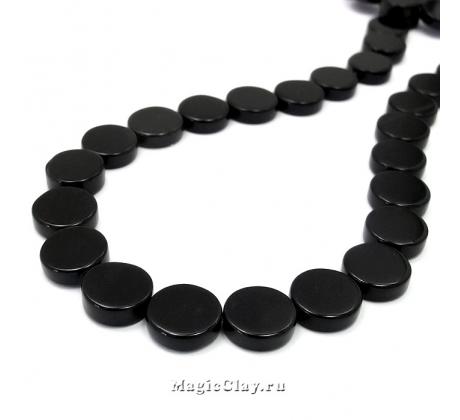 Бусины Агат черный, таблетка 10х4мм,1 уп (10шт)