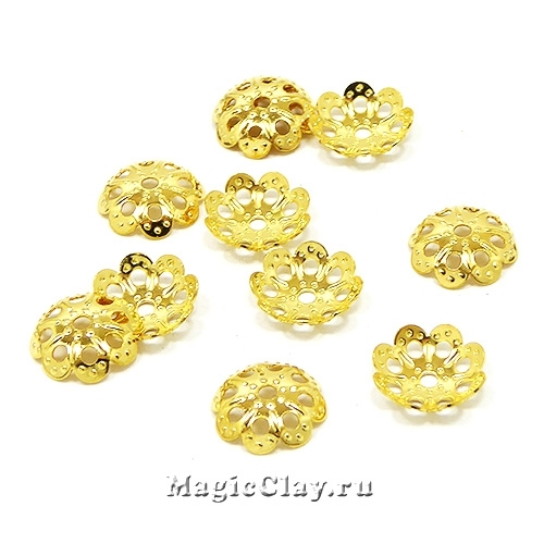 Шапочка для бусины Ажур Цветок 9х2мм, сталь, цвет золото, 10шт