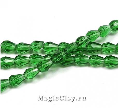 Бусины Капля Зеленый Лес 5х3мм, 1нить (~48шт)