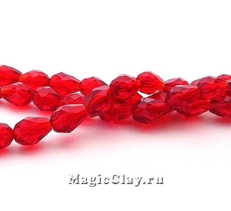 Бусины Капля Рубиновое Сияние 5х3мм, 1нить (~48шт)