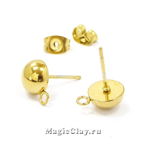 Швензы гвоздики Полусфера 8мм, сталь золото, 1пара