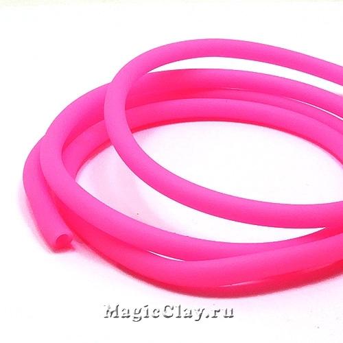 Шнур резиновый 5мм полый Розовый, 1 метр