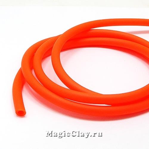 Шнур резиновый 5мм полый Оранж Неон, 1 метр