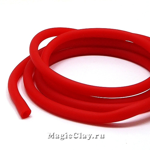 Шнур резиновый 5мм полый Красный, 1 метр