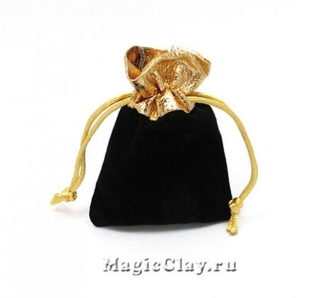 Сумочка подарочная из бархата 9х7см, цвет Черный с золотом