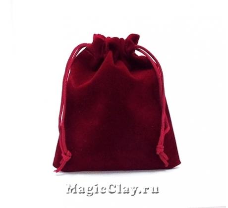 Сумочка подарочная из бархата 12х10см, цвет Бордо