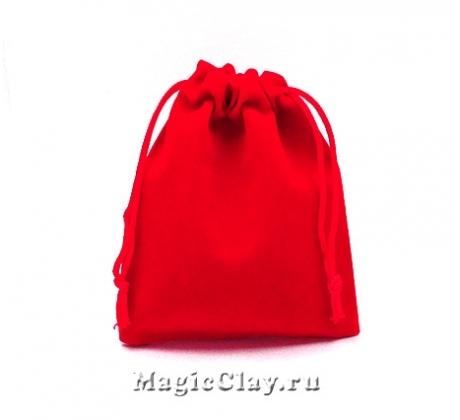 Сумочка подарочная из бархата 12х10см, цвет Красный