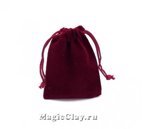 Сумочка подарочная из бархата 9х7см, цвет Бордо