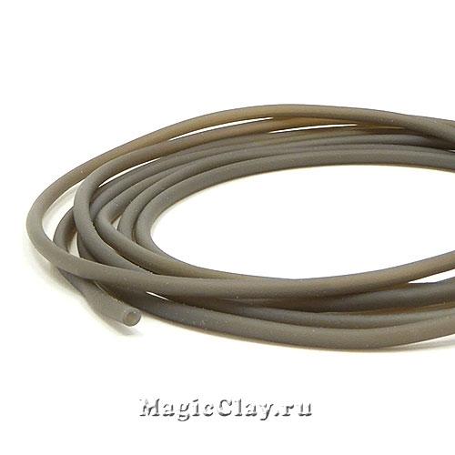 Шнур резиновый 2мм полый Серый, 3 метра