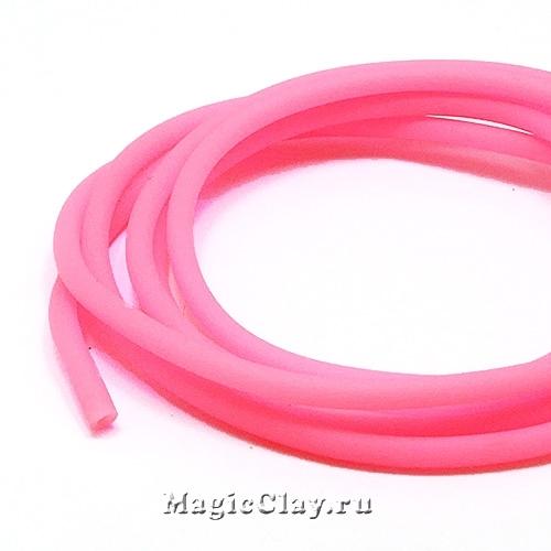 Шнур резиновый 3мм полый Розовый, 3 метра