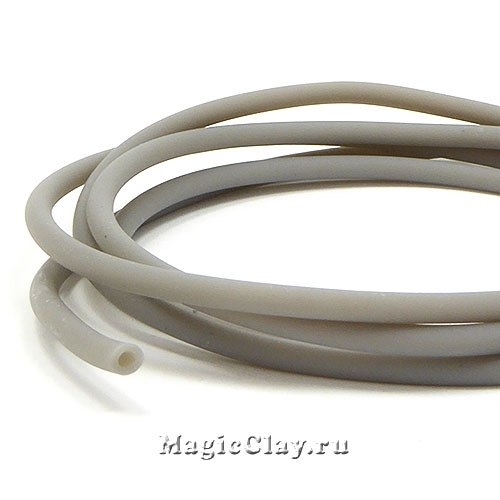 Шнур резиновый 3мм полый Серый, 3 метра