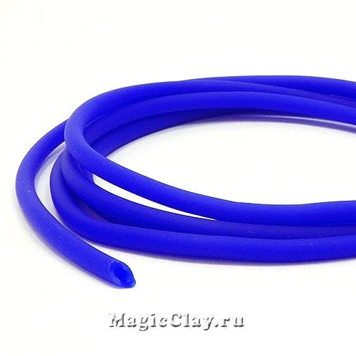 Шнур резиновый 3мм полый Синий, 3 метра
