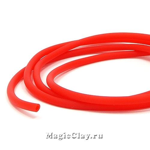 Шнур резиновый 3мм полый Красный, 3 метра