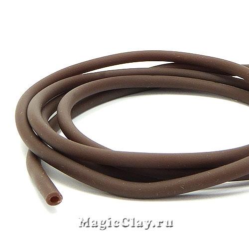 Шнур резиновый 3мм полый Коричневый, 3 метра