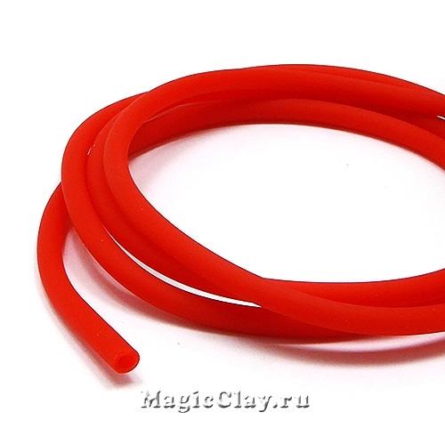 Шнур резиновый 4мм полый Красный, 2 метра