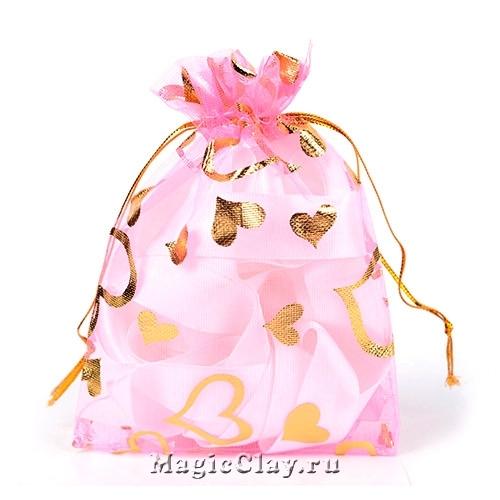 Сумочка подарочная из органзы 10х12см, цвет Розовый