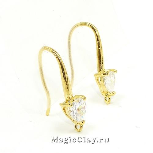 Швензы крючки Сердце 22х13мм, Real Gold, 1пара