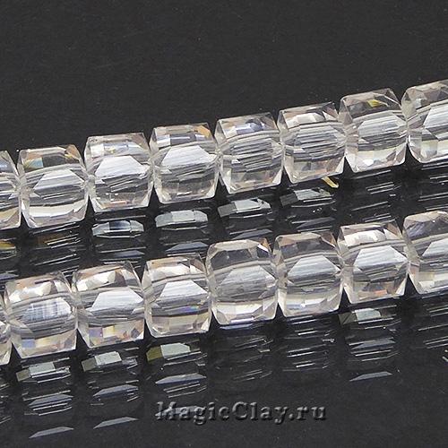Бусины Кубики Кристалл 6мм, 1нить (~45шт)