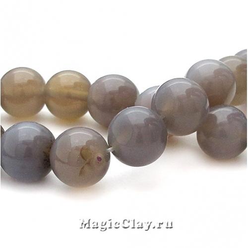 Бусины Агат серый, гладкий 12 мм, 1 уп. (10шт)
