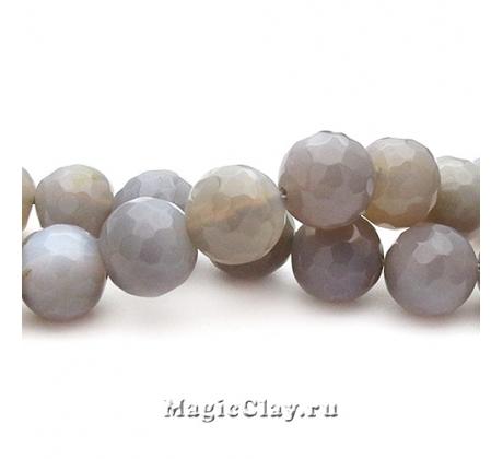 Бусины Агат серый, граненый 10 мм, 1 нить (~35шт)