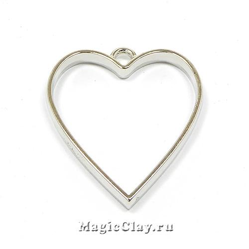 Рамка для кулона Сердце 34х30мм, цвет стальной, 1шт