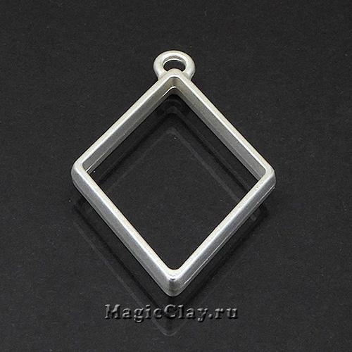 Рамка для кулона Ромб 40х25мм, цвет серебро матовое, 1шт