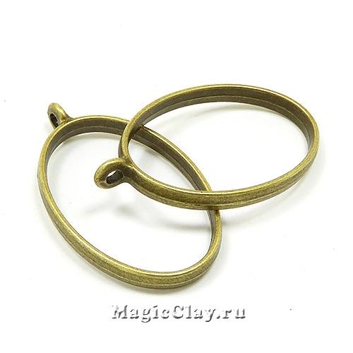 Рамка для кулона Овал 39х23мм, цвет бронза, 1шт