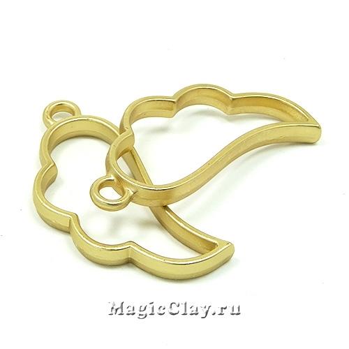Рамка для кулона Крыло 36х17мм, цвет золото матовое, 1шт